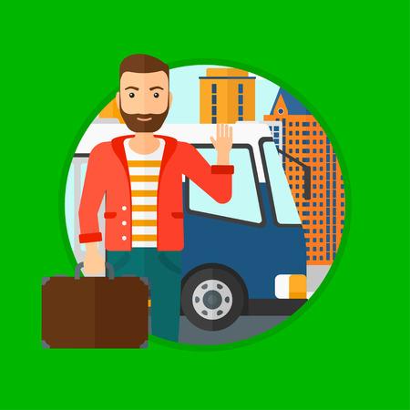 Een hipster man met de baard die zich bij de ingang van een bus op een stad achtergrond. Jonge man zwaaien in de voorkant van een bus. Vector platte ontwerp illustratie in de cirkel geïsoleerd op de achtergrond.