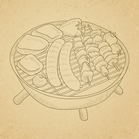 grilled meat: Assorted delicious grilled meat with vegetable on a barbecue grid. Grilled meat hand drawn on old paper vintage background. Grilled meat vector sketch illustration. Illustration