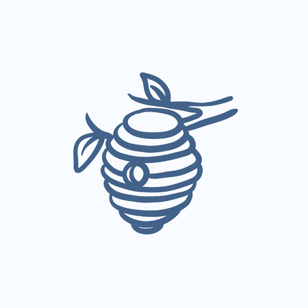 hive: Bee hive sketch icon for web, mobile and infographics. Hand drawn bee hive icon. Bee hive vector icon. Bee hive icon isolated on white background.
