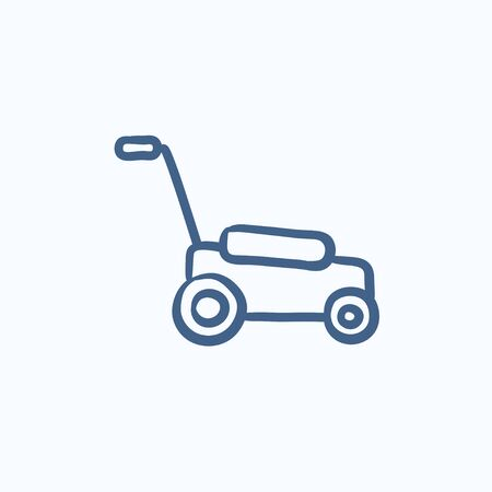 push mower: Lawnmover vector sketch icon isolated on background. Hand drawn Lawnmover icon. Lawnmover sketch icon for infographic, website or app.