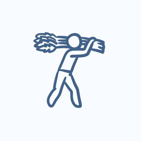 man carrying: Man carrying wheat  vector sketch icon isolated on background. Hand drawn Man carrying wheat  icon. Man carrying wheat  sketch icon for infographic, website or app.