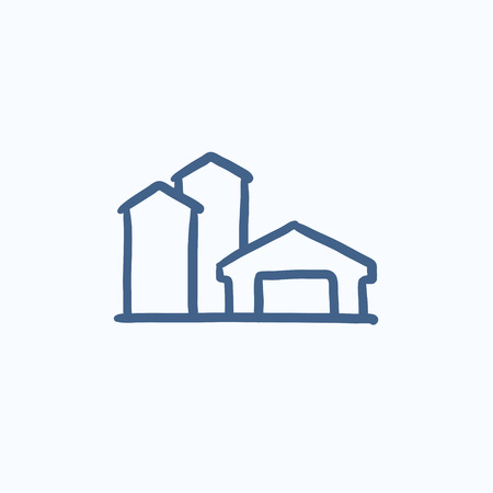 Farm buildings sketch icon for web, mobile and infographics. Hand drawn farm buildings icon. Farm buildings vector icon. Farm buildings icon isolated on white background. Vettoriali