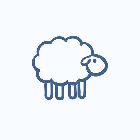 Sheep icona dello schizzo per il web, mobile e infografica. Disegnata a mano icona di pecore. Sheep vettore icona. icona di pecora isolato su sfondo bianco. Archivio Fotografico - 59068389