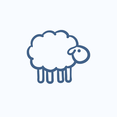 black outline: Sheep sketch icon for web, mobile and infographics. Hand drawn sheep icon. Sheep vector icon. Sheep icon isolated on white background.