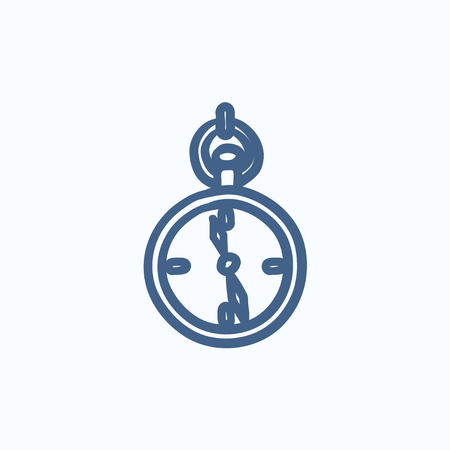 hand in pocket: Pocket watch sketch icon for web, mobile and infographics. Hand drawn Pocket watch icon. Pocket watch vector icon. Pocket watch icon isolated on white background.