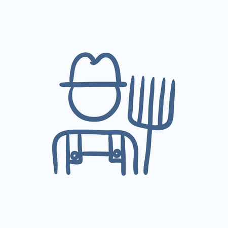 agriculturist: Farmer with pitchfork vector sketch icon isolated on background. Hand drawn Farmer with pitchfork icon. Farmer with pitchfork sketch icon for infographic, website or app. Illustration