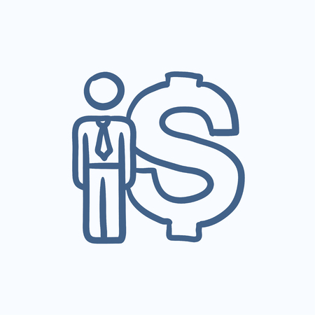 price gain: Businessman stands near dollar symbol vector sketch icon isolated on background. Hand drawn Businessman near dollar symbol icon. Businessman near dollar sketch icon for infographic, website or app.