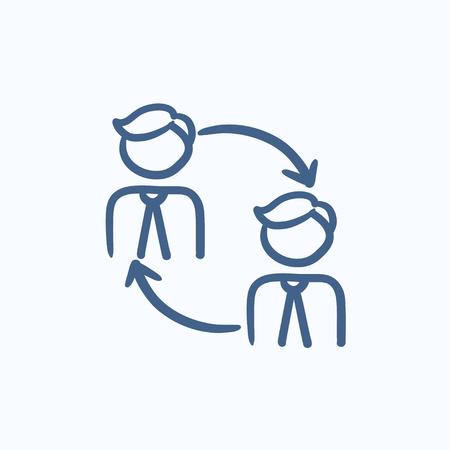 Le roulement du personnel vecteur croquis icône isolé sur fond. Hand drawn personnel icône de chiffre d'affaires. Personnel chiffre d'affaires icône esquisse pour infographie, site Web ou application. Vecteurs
