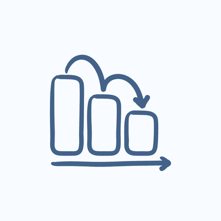 descending: Bar chart down vector sketch icon isolated on background. Hand drawn Bar chart down icon. Bar chart down sketch icon for infographic, website or app.