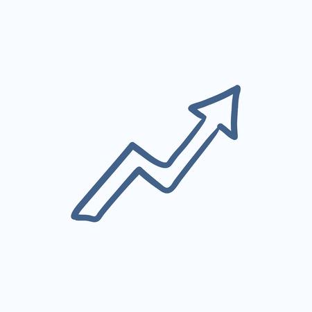Freccia verso l'alto icona del disegno vettoriale isolato su sfondo. Disegno a mano Icona della freccia verso l'alto. Icona freccia verso l'alto schizzo per infografica, sito web o un'applicazione. Vettoriali
