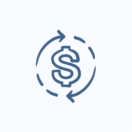 Dollar symbol with arrows vector sketch icon isolated on background. Hand drawn Dollar symbol with arrows icon. Dollar symbol with arrows sketch icon for infographic, website or app. Ilustrace