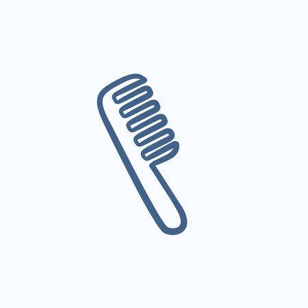 Pettine icona di schizzo vettoriale isolato su sfondo. Icona pettine disegnata a mano. Icona di schizzo a pettine per infografica, sito Web o app.