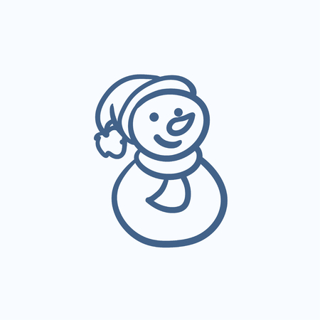 Snowman vector sketch icon isolated on background. Hand drawn Snowman icon. Snowman sketch icon for infographic, website or app.