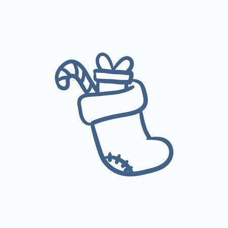 Christmas boot with gift and candy cane vector sketch icon isolated on background. Hand drawn Christmas boot with gift and candy cane icon. Christmas boot sketch icon for infographic, website or app. Çizim