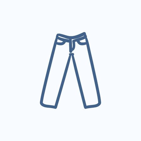 trousers: Trousers vector sketch icon isolated on background. Hand drawn Trousers icon. Trousers sketch icon for infographic, website or app. Illustration