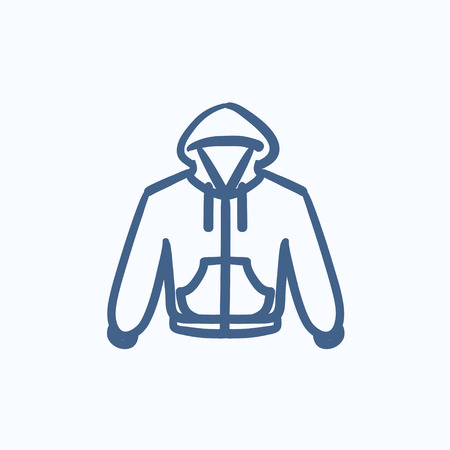sportswear: Hoodie vector sketch icon isolated on background. Hand drawn Hoodie icon. Hoodie sketch icon for infographic, website or app.