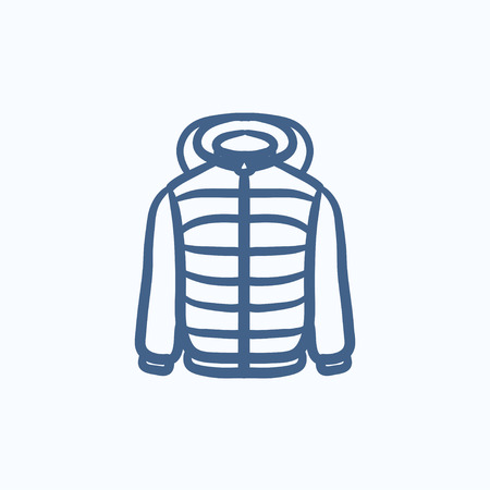 fur hood: Jacket vector sketch icon isolated on background. Hand drawn Jacket icon. Jacket sketch icon for infographic, website or app. Illustration