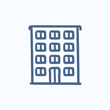 cemented: Residential building vector sketch icon isolated on background. Hand drawn Residential building icon. Residential building sketch icon for infographic, website or app. Illustration