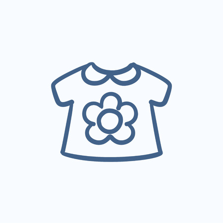 loose: Baby loose jacket vector sketch icon isolated on background. Hand drawn Baby loose jacket icon. Baby loose jacket sketch icon for infographic, website or app.