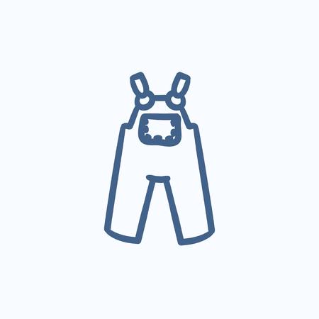 overol: Beb� guardapolvos dibujo icono del vector aislado en el fondo. Dibujado a mano icono de un mono beb�. Beb� guardapolvos dibujo icono de infograf�a, sitio web o aplicaci�n.