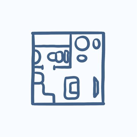 cutaway drawing: House interior with furniture vector sketch icon isolated on background. Hand drawn House interior with furniture icon. House interior with furniture sketch icon for infographic, website or app.