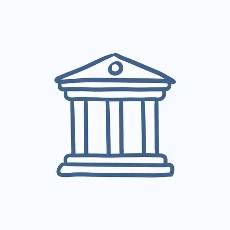 academia: Museum vector sketch icon isolated on background. Hand drawn Museum icon. Museum sketch icon for infographic, website or app.