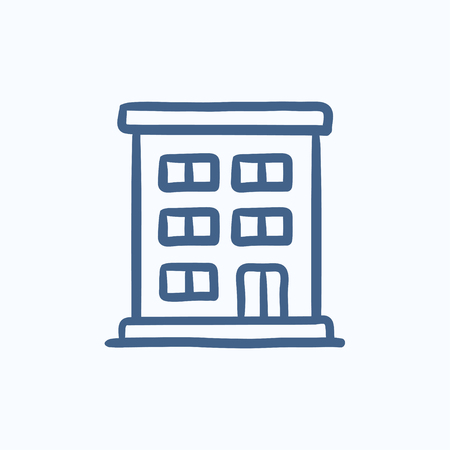 building sketch: Residential building vector sketch icon isolated on background. Hand drawn Residential building icon. Residential building sketch icon for infographic, website or app. Illustration
