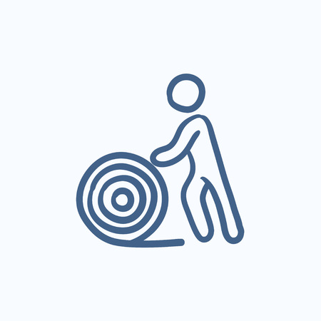cabling: Man with wire spool vector sketch icon isolated on background. Hand drawn Man with wire spool icon. Man with wire spool sketch icon for infographic, website or app.