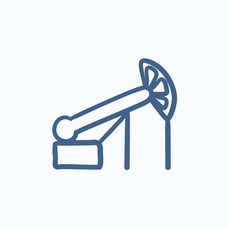 pump jack: Pump jack oil crane vector sketch icon isolated on background. Hand drawn Pump jack oil crane icon. Pump jack oil crane sketch icon for infographic, website or app.