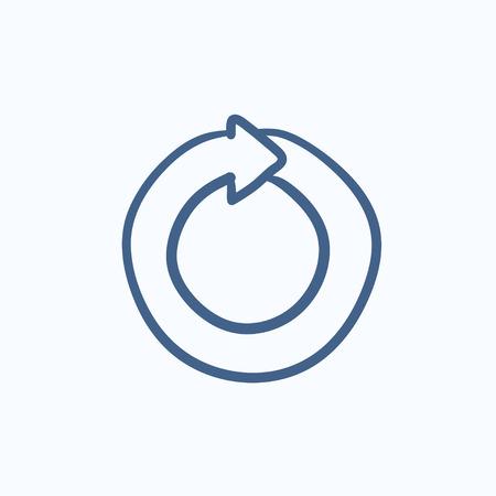 Circular arrow vector sketch icon isolated on background. Hand drawn Circular arrow icon. Circular arrow sketch icon for infographic, website or app.