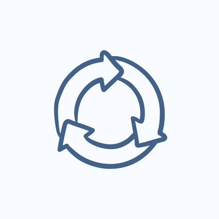 arrows circle: Arrows circle vector sketch icon isolated on background. Hand drawn Arrows circle icon. Arrows circle sketch icon for infographic, website or app. Illustration