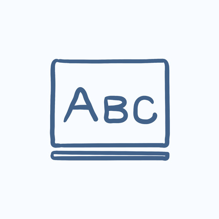 lexicon: Letters abc on blackboard vector sketch icon isolated on background. Hand drawn Letters abc on blackboard icon. Letters abc on blackboard sketch icon for infographic, website or app. Illustration
