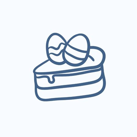 an easter cake: Easter cake with eggs vector sketch icon isolated on background. Hand drawn Easter cake with eggs icon. Easter cake with eggs sketch icon for infographic, website or app. Illustration