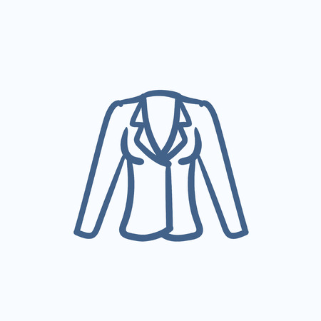 belongings: Jacket vector sketch icon isolated on background. Hand drawn Jacket icon. Jacket sketch icon for infographic, website or app. Illustration