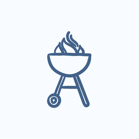 Kettle barbecue grill vector sketch icon isolated on background. Hand drawn Kettle barbecue grill icon. Kettle barbecue grill sketch icon for infographic, website or app. Stock Illustratie