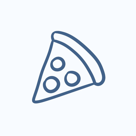 pizza crust: Pizza slice vector sketch icon isolated on background. Hand drawn Pizza slice icon. Pizza slice sketch icon for infographic, website or app. Illustration