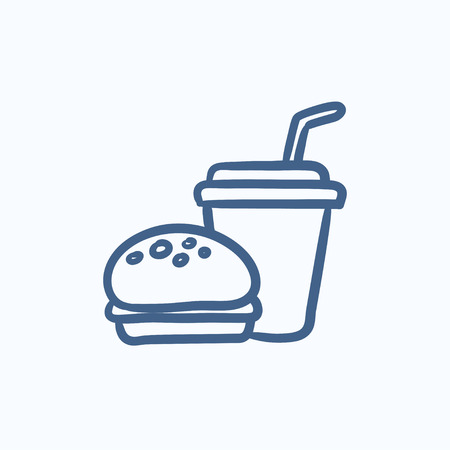 Fast food meal vector sketch icon isolated on background. Hand drawn Fast food meal icon. Fast food meal sketch icon for infographic, website or app. Stock Illustratie