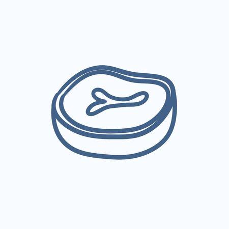 ステーキ ベクター スケッチ アイコンを背景に分離します。手描きステーキ アイコン。インフォ グラフィック、web サイトまたはアプリケーション  イラスト・ベクター素材