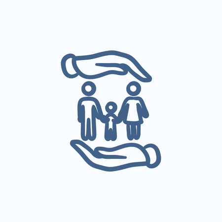 child holding sign: Family and hands vector sketch icon isolated on background. Hand drawn Family and hands icon. Family and hands sketch icon for infographic, website or app.