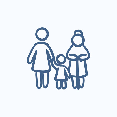 family isolated: Family vector sketch icon isolated on background. Hand drawn Family icon. Family sketch icon for infographic, website or app. Illustration