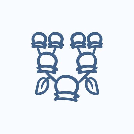 Stammbaum Vektor-Skizze-Symbol auf Hintergrund isoliert. Hand gezeichnet Stammbaum-Symbol. Stammbaum Skizze Symbol für Infografik, die Website oder App. Standard-Bild - 59070406