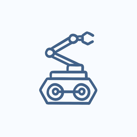 robot arm: Industrial mechanical robot arm vector sketch icon isolated on background. Hand drawn Industrial mechanical robot arm icon. Industrial mechanical robot arm sketch icon for infographic, website or app. Illustration