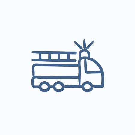 sirens: Fire truck vector sketch icon isolated on background. Hand drawn Fire truck icon. Fire truck sketch icon for infographic, website or app.