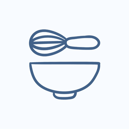 whisk: Whisk and bowl vector sketch icon isolated on background. Hand drawn Whisk and bowl icon. Whisk and bowl sketch icon for infographic, website or app.