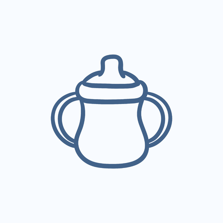 handles: Baby bottle with handles vector sketch icon isolated on background. Hand drawn Baby bottle with handles icon. Baby bottle with handles sketch icon for infographic, website or app.