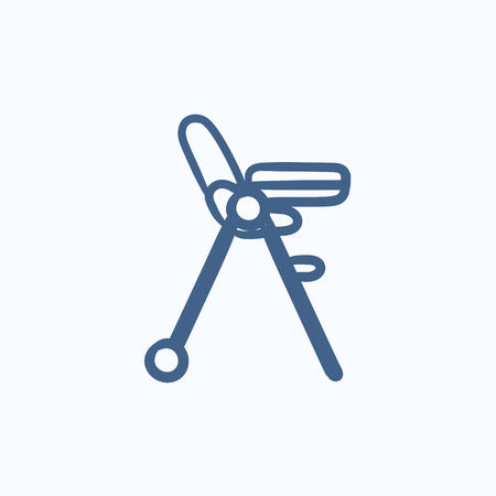 baby chair: Baby chair for feeding vector sketch icon isolated on background. Hand drawn Baby chair for feeding icon. Baby chair for feeding sketch icon for infographic, website or app.
