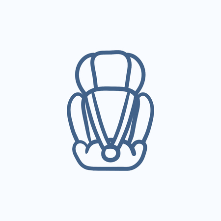 infant: Baby car seat vector sketch icon isolated on background. Hand drawn Baby car seat icon. Baby car seat sketch icon for infographic, website or app.