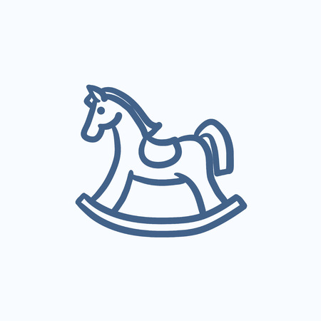 rocking: Rocking horse vector sketch icon isolated on background. Hand drawn Rocking horse icon. Rocking horse sketch icon for infographic, website or app. Illustration