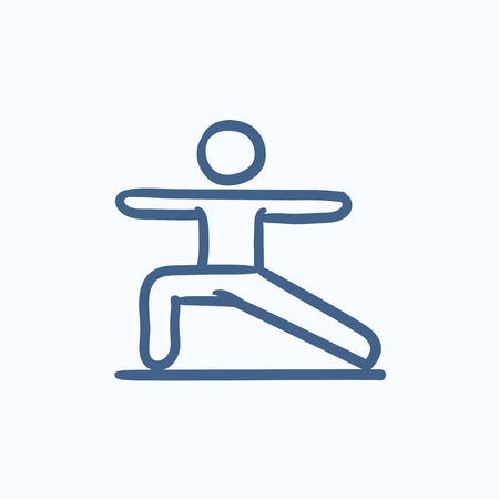 Man in the virabhadrasana II pose vector sketch icon isolated on background. Hand drawn Man in virabhadrasana II pose icon. Man in virabhadrasana II pose sketch icon for infographic, website or app. Ilustracje wektorowe