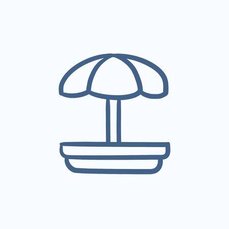 Playground vector schets pictogram op een achtergrond. Hand getrokken Playground icoon. Speeltuin schets pictogram van infographic, website of app. Stock Illustratie